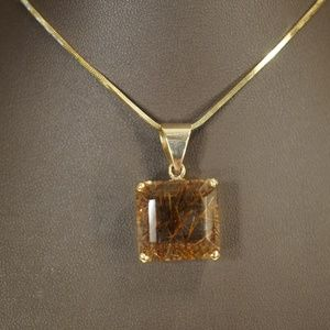 "14KY Gold Rutilated Quartz Pendant W/18"" Chain"